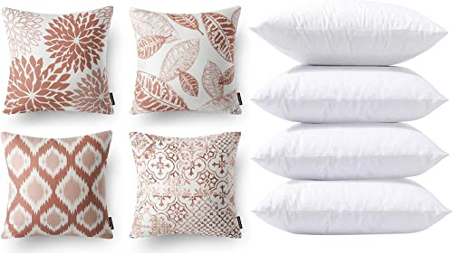 2021 Phantoscope Bundles, Set of 4 New Living Series Caramel Pillow Covers popular 18 x 18 new arrival inches & Set of 4 Pillow Inserts 18 x 18 inches online sale