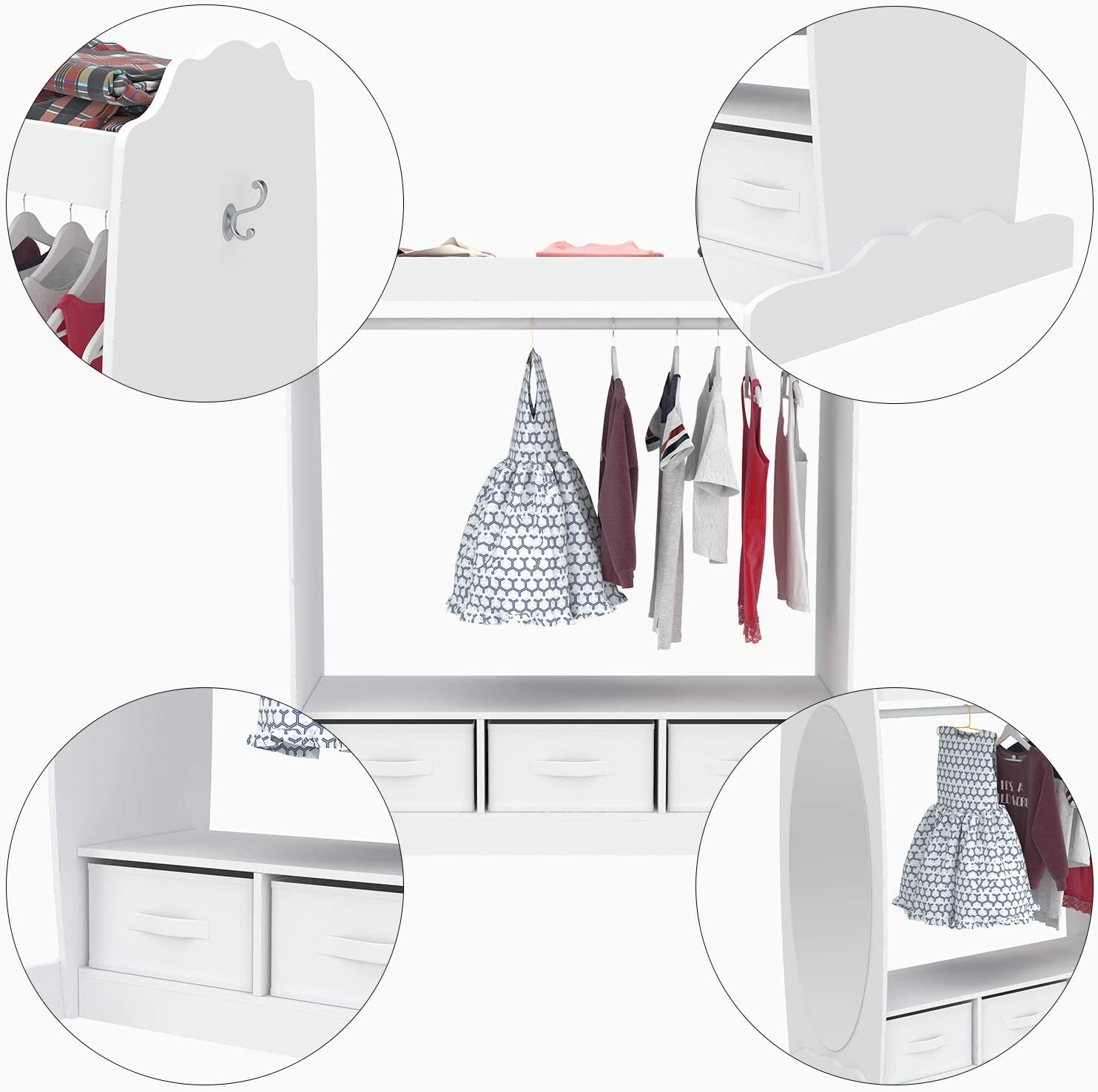 Kids' Furniture Armoires & Dressers Kids Armoire with Fabric ...