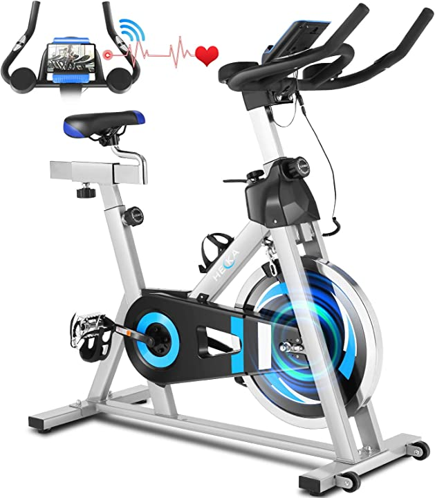 Cyclette heka con disco d`inerzia da 20kg on l`app, manubrio e sella regolabili, portata massima 150 kg - B08XJD1TPX