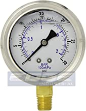 NEW STAINLESS STEEL LIQUID FILLED PRESSURE GAUGE WOG WATER OIL GAS 0 to 30 PSI LOWER MOUNT 0-30 PSI 1/4