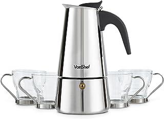 Cafetera Espresso de encimera de 6 tazas con 4 tazas de cristal VonShef – Acero inoxidable