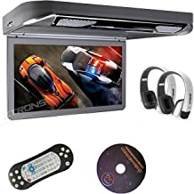 "XTRONS Grey 13.3"" HD 1080P Video Car MPV Roof Flip Down Slim Overhead DVD Player Wide Screen Ultra-Thin with HDMI Input 2PCS White New IR Headphones Included"
