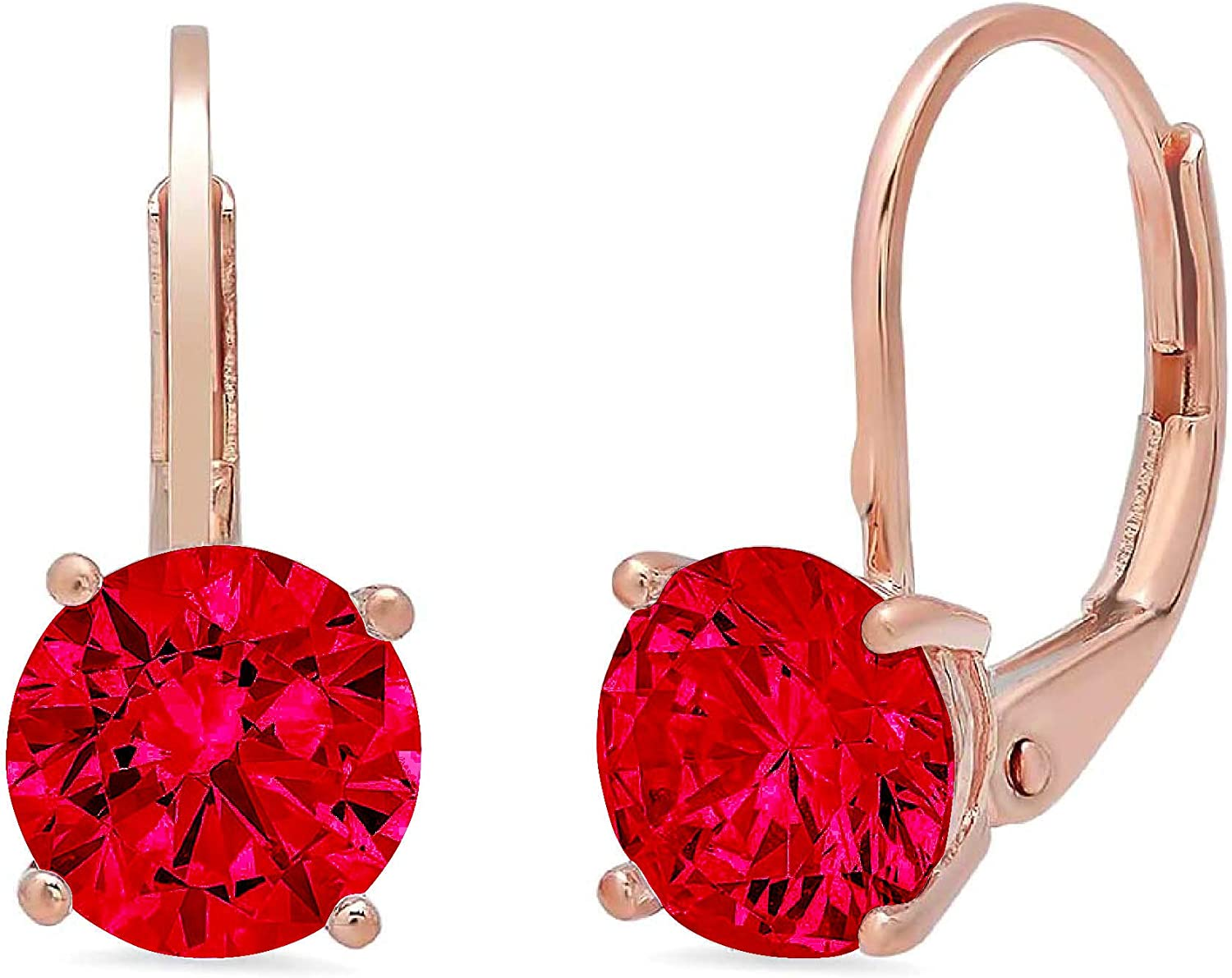 1.0 ct Brilliant Round Cut Solitaire Flawless Genuine Pink Tourmaline Gemstone VVS1 Ideal Pair of Leverback Drop Dangle Designer Earrings Solid 14k Rose Pink Gold