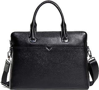 Shoulder Bags Men's Handbag Square Business Messenger Bag Leather Casual Computer Bag Leather Briefcase 6L Black Work Bag