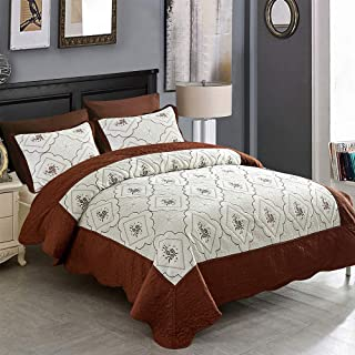 JML Quilt Set Full/Queen – 3 Piece Embroidered Lightweight, Breathable Microfiber Bedspread Coverlet Set (Brown, Diamond)