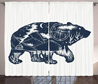 Ambesonne Cabin Decor Curtains by, Bear Double Exposure Tattoo Art Image Great Outdoors Mountains Compass, Living Room Bedroom Window Drapes 2 Panel Set, 108 W X 63 L Inches, Dark Blue White