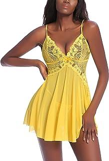 Avidlove Women Lace Lingerie Mesh Chemise V Neck Babydoll Full Slip Nightdress