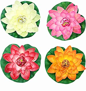 NAVAdeal 4PCS Artificial Floating Foam Lotus Flowers, Realistic Water Lily Pads, Vibrant Color Pink Ivory Orange Crimson, Perfect for Home Garden Patio Pond Aquarium Swimming Pool Wedding Party Decor