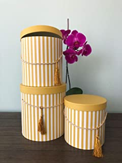 [USA-SALES] Premium Quality Round Flower Box, Gift Boxes for Luxury Flower and Gift Arrangements, Set of 3 pcs, with Lids, Size (S/M/L) (Yellow Stripes)
