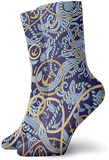 wwoman, Calcetines de vestir estampados para hombres y mujeres Anclas de mar Calcetines coloridos divertidos y novedosos Crazy Crew 30 cm