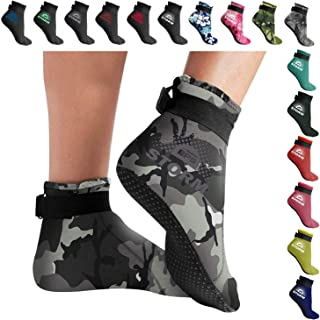 Storm 'Smart Sock' Ultra Premium Water Fin Sock (Low Cut - Unisex) 3mm Neoprene Glued and Blind Stitched w/Fit Adjustment Straps for Snorkeling, Tide-Pooling and All Water and Sand Activities