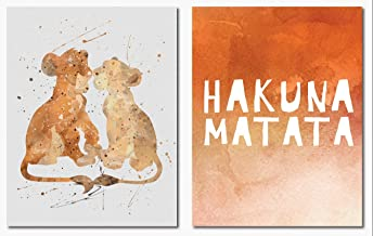 Hakuna Matata Simba Nala Wall Art Print 2 Pack