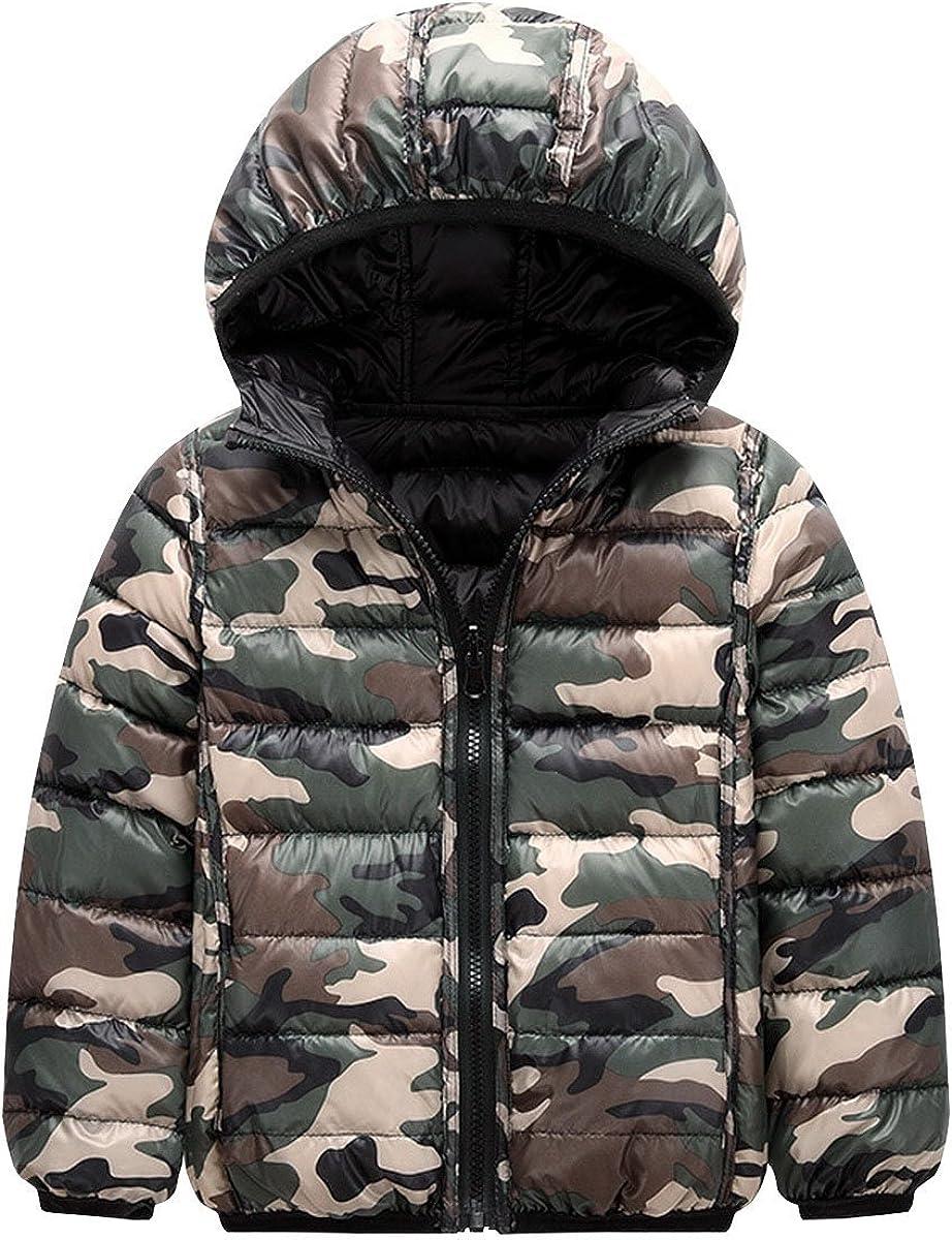 Jojobaby Baby Girls Boys Winter Lightweight Down Coat Hoodies Kids Camouflage Puffer Warm Coat Outwear Hoodie Bubble Jacket