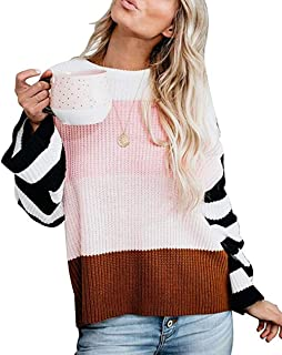 PrettyQueen Casual Crew Neck Color Block Knit Pullover Oversized Sweaters for Women Jumper Top