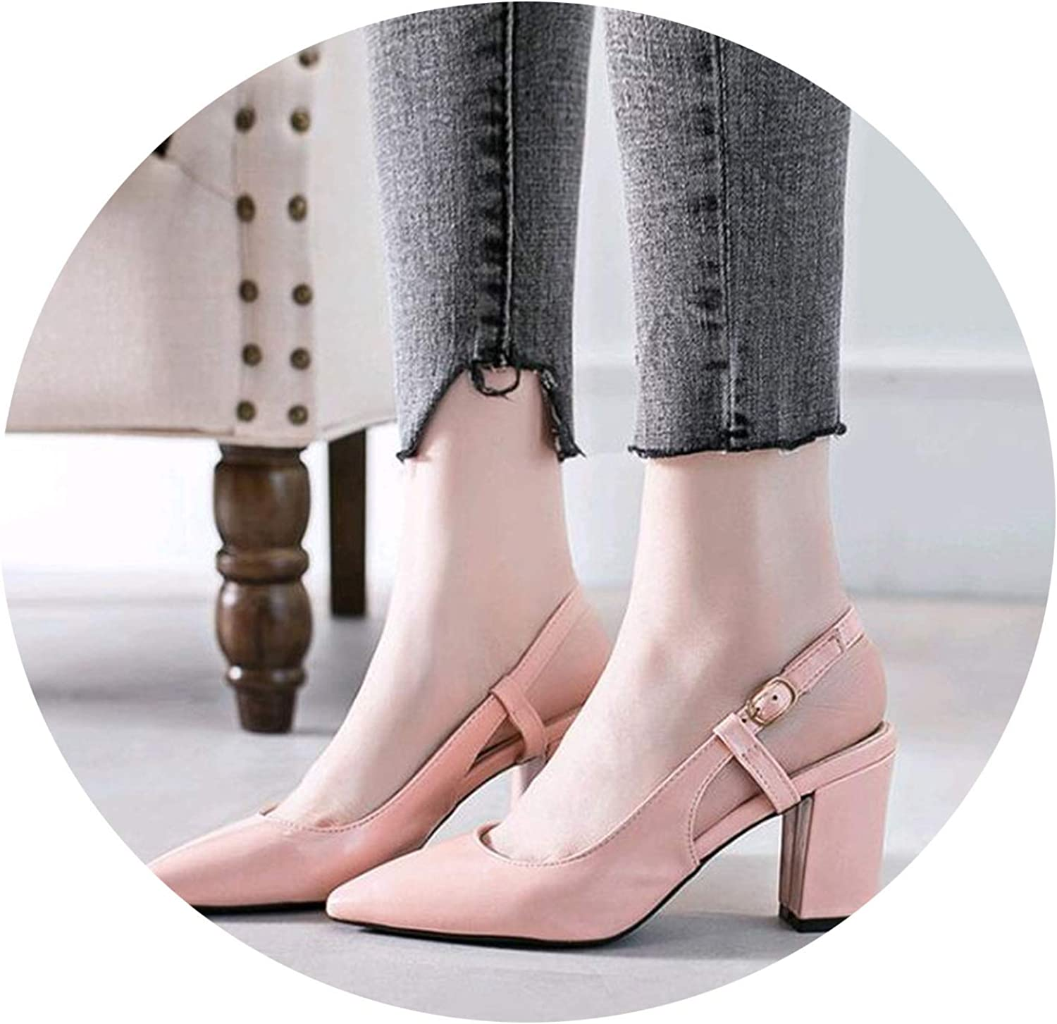 DATAIYANG 2019 shoes Woman Summer Women Pumps Female Word Buckle Pointed High-Heeled