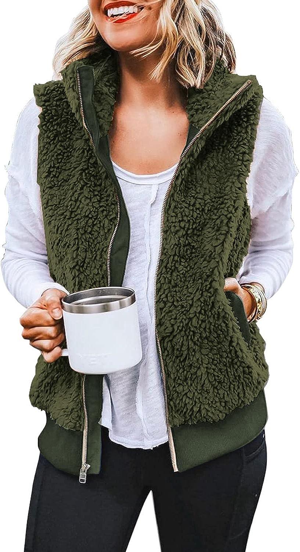 luvamia Womens Casual Fleece Vest Warm Sherpa Outerwear Sleevele