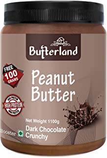 Butterland Dark Chocolate Peanut Butter | Crunchy | 1kg+100g free=1100g | 24% protein | Made With Roasted Peanuts And Dark...