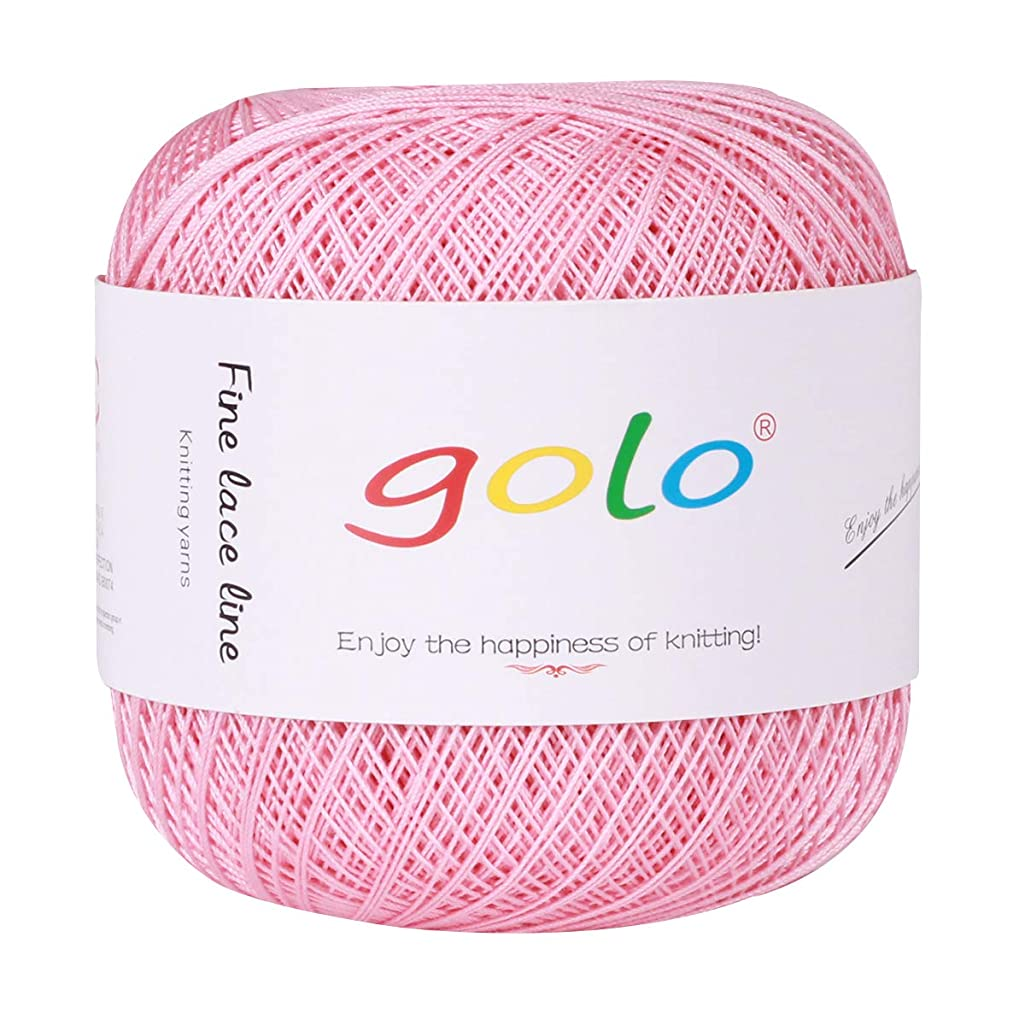 Crochet Thread Cotton Thread Yarn 400 Yards Yarn 100% Cotton Balls of Size 8 Cotton Threads for Crochet Knitting Hardanger Cross Stitch Needlepoint Hand Embroidery (Light Pink)
