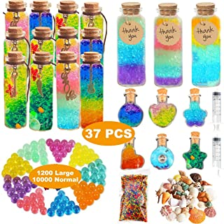 Leeche Create Rainbow Glass Bottles Art 21PCS,Play & Create Your Own Bottles Art,Arts and Crafts for Girls,Water Beads Party Favors for Kids
