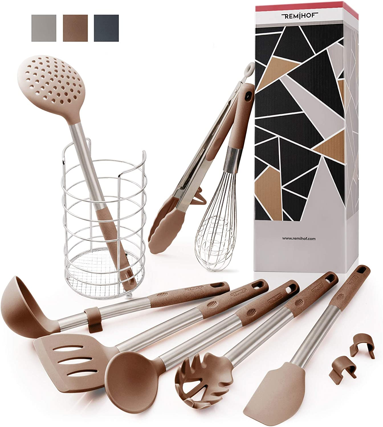 REMIHOF Silicone Kitchen Utensil 9-Piece Set of Premium Stainless Steel and Nonstick Silicon - Spatula Turner Ladle Pasta Server Whisk Tongs with Holder