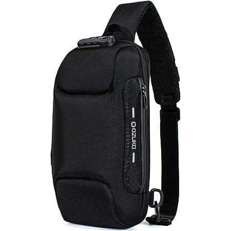 H HIKKER-LINK Umhängetasche Brusttasche Schultertasche Crossbody Sling Rucksack Anti-Diebstahl Tasche mit USB für Wandern Arbeiten Schule