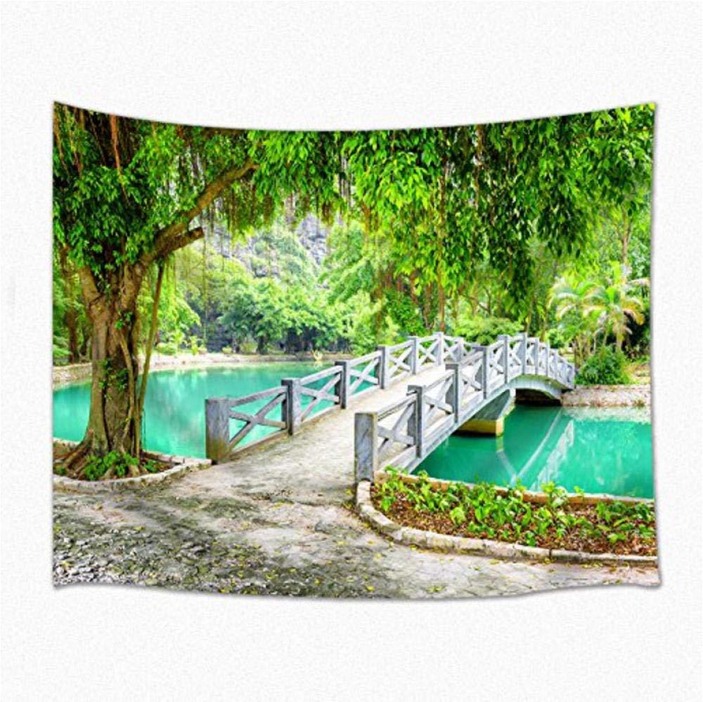 hjtktt Paisaje Decoración Tapiz Primavera Jardín Puente Verde Árbol Turquesa Agua Pared Colgando Dormitorio200*150Cm: Amazon.es: Hogar