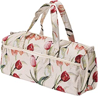 Large Fabric Knitting Needles Bag,Household Yarn Storage Tote Organizer Knitting Tools Storage Bag for Knitting Needles and Accessories(Rose red)