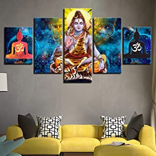Wadyx Hd Printed Abstract Canvas Pictures Wall Art 5 Pieces Hindu Lord Shiva Painting Modular Poster Home Decor Living Room No Framed 30X40 30X60 30X80Cm