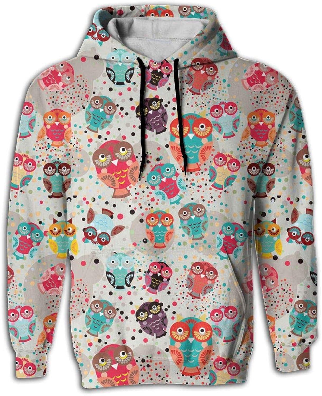 Wkylt Best Big Pockets Fashion colorful Pop Owls On Cream Sweat Shirts for Men