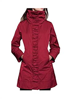 Rainforest Womens Travel Rain Jacket w Hood -Ruched Front - Carmine Red - L