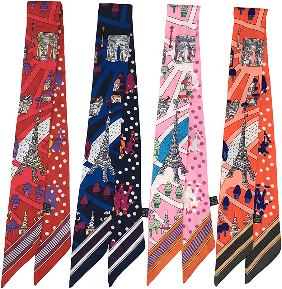 Amystyle 4pcs Architecture And Dots Pattern Double-side Printed Satin Scarf Women Fashion Scarf for Hair or Bag Handle Decoration Tie Hand Ribbon, 88x5cm