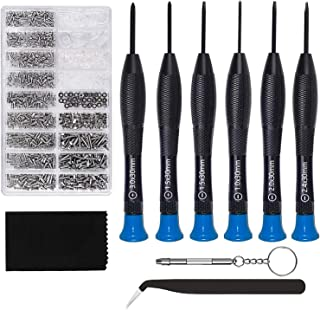 Eyeglass Repair Kit,GTULIFE Sunglasses Repair Kit with 1000pcs Eyeglass Screws Include Nose Pads, Precision Screwdriver Set and Tweezers for Eyeglass, Sunglass, Spectacles & Watch Repair