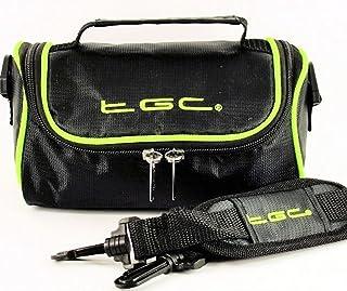 TGC ® Draagtas Schoudertas Compatibel met Olympus TG-6 Tough Performance Camera, Zwart Met Elektrische Groene Trims, M,