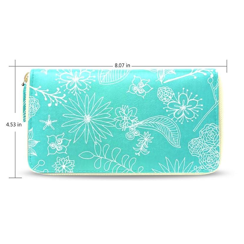 決定的ずんぐりした九Womens Teal Floral Pattern Long Wallet withカードホルダー(ベージュ)
