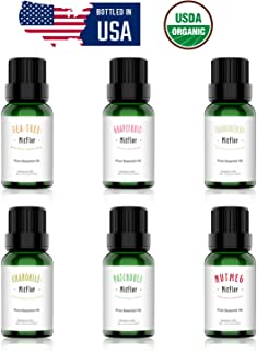 Organic Essential Oils Set, MitFlor Top 6 Premium Grade Aromatherapy Oils Gift Set - Tea Tree, Chamomile, Grapefruit, Frankincense, Patchouli, Nutmeg – 6x10ml