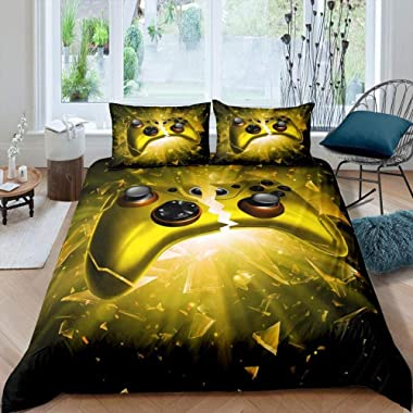 DNHFUI Double Duvet Cover Yellow, Game, Handle, Controller Printed Bedding Quilt Duvet Cover with Zipper Closure Ultra Soft M