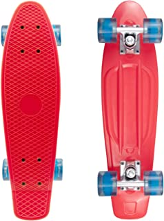 ohderii 22 Inch Mini Cruiser Skateboard Banana Board with Bendable Deck for Kids Boys Youths Beginners