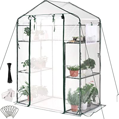 "Quictent Greenhouse Screen Door 2 Windows 3 Tiers 6 Shelves 56"" W x 29"" D x 77"" H Walk in Outdoor Portable Plant Garden Green House 50 T-Type Plant Tags 8 Stakes 4 Ropes Include (Clear)"