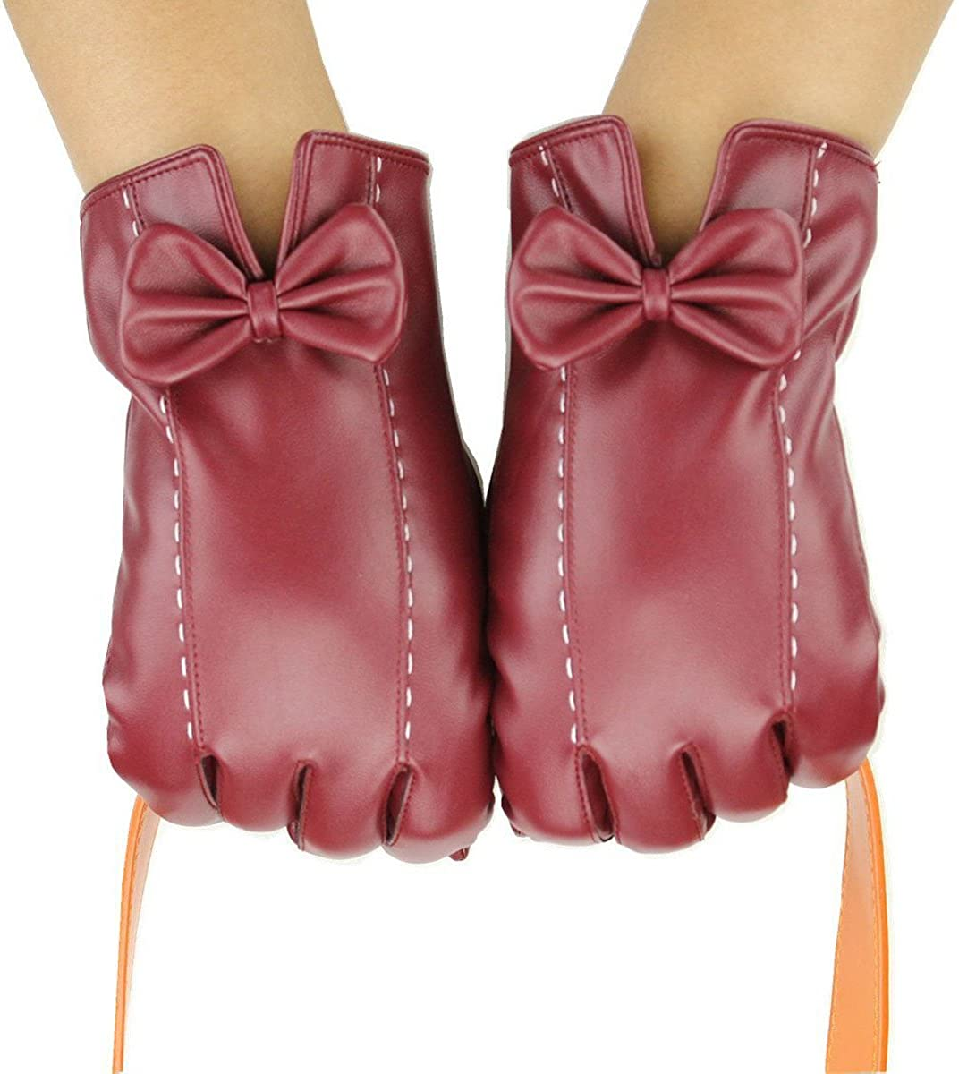 Womens Leather Gloves Winter Gloves Cold Weather Warm Mittens