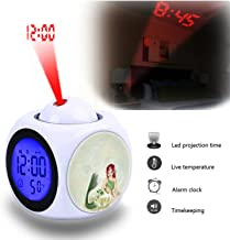 Projection Alarm Clock Wake Up Bedroom with Data and Temperature Display Talking Function, LED Wall/Ceiling Projection,Customize the pattern-647.Mermaid Lotus Fantasy