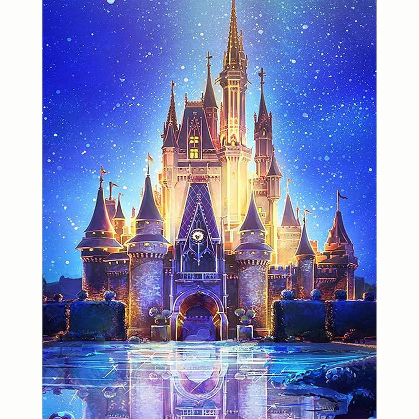 HKKYT 5D DIY Diamond Painting kit Resin Rhinestone Embroidery Cross Stitch Full Drill Home Wall Decor Starry Castle (40x50cm) lmfpzmsmryedqj