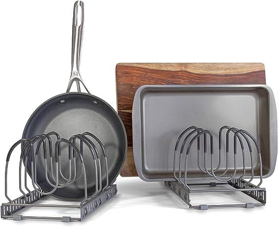 10+ Pans Expandable Pan and Pot Organizer Rack: 2 Racks or 1 Expandable Rack