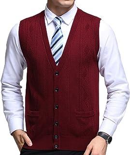 FULIER Mens Winter Wool V-Neck Gilet Sleeveless Vest Waistcoat Casual Gentleman Knitwear Cardigans Knitted Sweater Tank To...