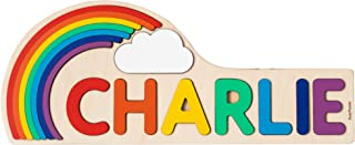 Rainbow and Cloud Wooden Toy Personalized Name Puzzle Custom Colorful Gift Nursery Decor 1st Birthday Stacking Educational Toys