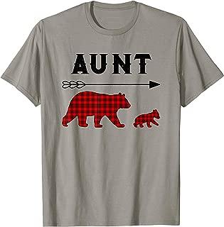 Aunt Bear Shirt Family Christmas Pajamas Buffalo Plaid T-Shirt