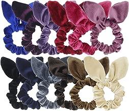 SUSULU 12 Pack Hair Scrunchies Velvet Scrunchy Bobbles Elastic Hair Bands (12pcs mix bunny velvet scrunchie)