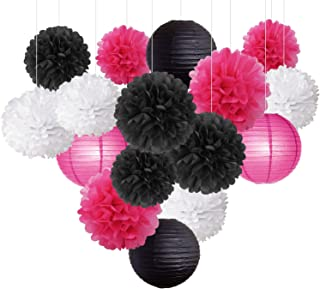 16pcs Tissue Paper Flowers Ball Pom Poms Mixed Paper Lanterns Craft Kit for Wedding School Graduation Decoration Birthday Party Decor Baby Shower Decor Bridal Shower (White Pink Black)