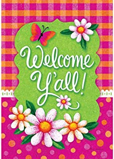 Custom Decor Welcome Y`all Gingham Polka Dot - Spring and Summer - Standard Size, Decorative Double Sided, Licensed and Copyrighted Flag - Printed in The USA Inc. - 28 Inch X 40 Inch Approx. Size