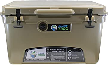 Frosted Frog Tan 75 Quart Ice Chest Heavy Duty High Performance Roto-Molded Commercial Grade Insulated Cooler