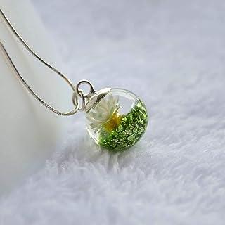 Margarita Real Flor Verde Isla del tesoro Mineral Vaso Pelota 925 Plata esterlina Serpiente Cadena Collar